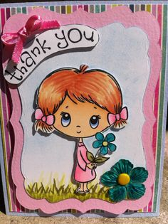 "Handmade Thank You card stamped with Crafter's Companions S.W.A.L.K ""Thank You"".  Image and paper flower colored with Spectrum Noir markers."