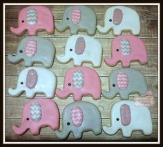 These are cute little girl elephant cookies with chevron ears. Can also be done with heart shaped ears and eyelashes. They are perfect for a baby shower or birthday party. The colors can be customized to fit your theme. Each cookie is about 2 inches perfect for a party favor. Each