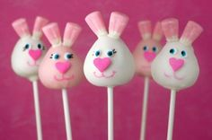 Bunny cake pops with candy corn ears.. such a cute idea