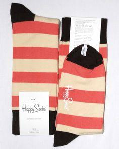 Pink Cream Brown Stripe Mens Dress Sock - Happy Socks