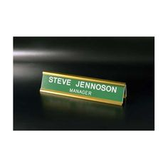 """Standard Desk Signs, Add personalized copy and an optional custom engraved logo Choose from 25 engraved color combinations Engraved on 1/16"""" two-ply plastic Choose from 5 different Metal Holder options"""