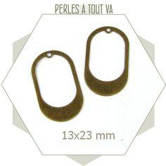 8 breloques ovales lisses ajourées - bronze