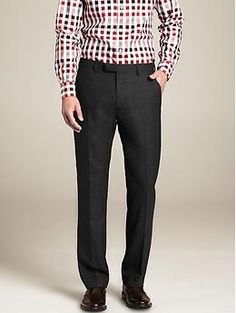 Modern Slim-Fit Charcoal Plaid Wool Suit Trouser