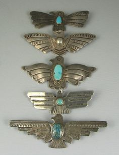 Vntg Navajo Fred Harvey Era Tunderbird Pin Collection