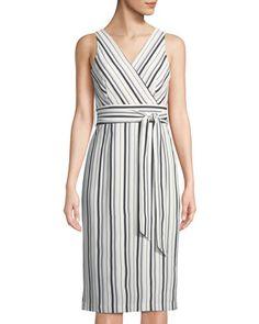 5e530ed3a7 Tahari ASL James Sleeveless Belted Striped Midi Wrap Dress. Last CallWrap  ...