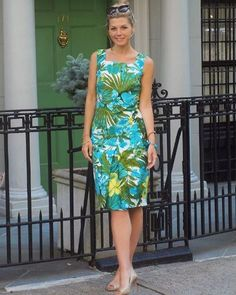 Stand out at every summer soiree like Kayla from @uptowncharade in our rainforest botanical sheath dress.