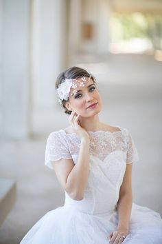 Crystal bridal wreath wedding hair accessories by JoyandFelicity