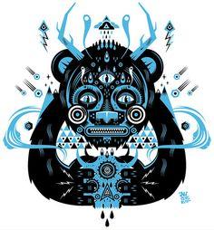 mystic bear   ilustration by Sebastien ' Niark1' FERAUT, via Flickr
