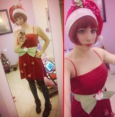 AntonellaYUME Takahashi - Zara Red Velvet Dress - Santacon2014- I am a present :)