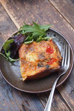 Clafoutis salé, tomate, olive, mozzarella