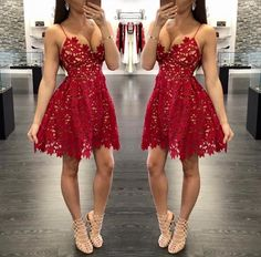 Pretty red lace prom dresses,short prom dress,homecoming dress · FlyinDance · Online Store Powered by Storenvy Unique Homecoming Dresses, Cheap Short Prom Dresses, Prom Dresses For Teens, Unique Dresses, Short Red Dresses, Homecoming Ideas, Graduation Dresses, Women's Dresses, Straps Prom Dresses
