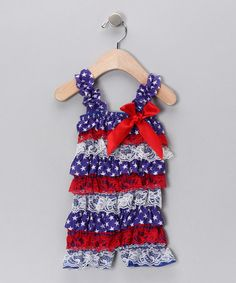 Look what I found on #zulily! Blue & Red Star Lace Ruffle Romper - Infant, Toddler & Girls #zulilyfinds