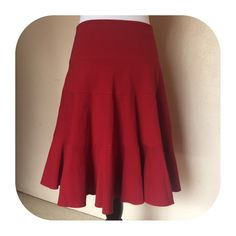 Lavia red tiered skirt Viscose poly elastin blend Lavia Skirts Circle & Skater