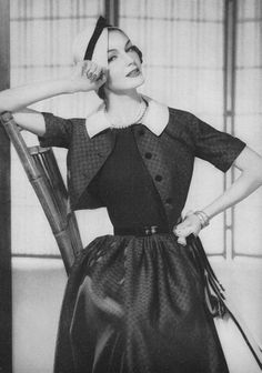 vintage fashion - Vogue, 1957. I do adore this, the nipped in waisted outfit, with cute hat and love THAT jacket
