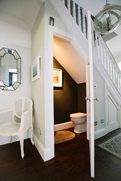 powder room under stairs - Google Search