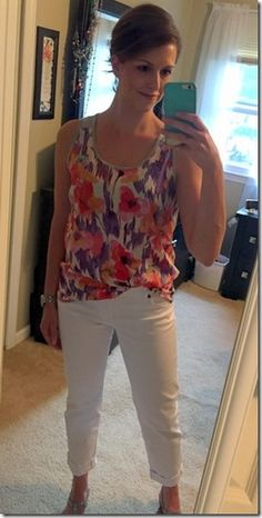 Hey StitchFix -- Really, really love this tank and the white  jeans.