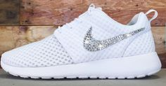 Glitter Kicks Nike Roshe Runs With Swarovski Crystal Rhinestones All White Shoes 2015 - Click Image to Close