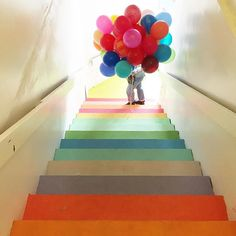 Rainbow Balloons plus rainbow staircase!