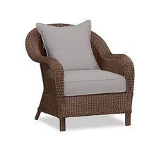 Palmetto All-Weather Wicker Armchair Cushion Slipcover, Sunbrella(R) Silver