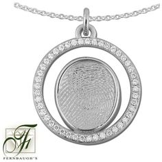 Fingerprint Diamond Halo Pendant personalized with your child's fingerprint. Perfect for Mom! Fingerprint Jewelry, Round Pendant, Halo Diamond, White Gold Diamonds, Pocket Watch, Pendants, Pendant Necklace, Jewels, Chain