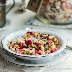 Low Carb Macadamia Nut Granola With Berries and Flaked Coconuts via @lowcarbmaven