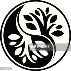 Yin Yang symbol in floral style Ying Y Yang, Yin Yang Art, Yin Yang Designs, Yin Yang Tattoos, Korean Painting, Wood Burning Patterns, Canadian Art, Silhouette Art, Free Illustrations
