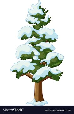 Pine tree covers with snow vector image on VectorStock Christmas Graphics, Christmas Clipart, Drawing For Kids, Painting For Kids, Snow Vector, Snow Images, Paper Doll House, Snow Covered Trees, Tree Illustration