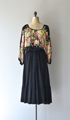 Feste Roman dress vintage 70s dress black floral by DearGolden