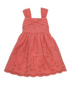 Look what I found on #zulily! Coral Scallop Eyelet Dress - Infant, Toddler & Girls by Rare Editions #zulilyfinds