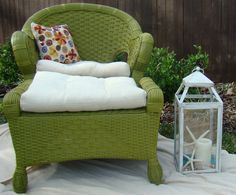Coastal Decor, Beach, Nautical Decor, DIY Decorating, Crafts Beach decor, Painted Furniture, Lime green wood wicker chair and ottoman with thick linen tuffed cushions and pillow