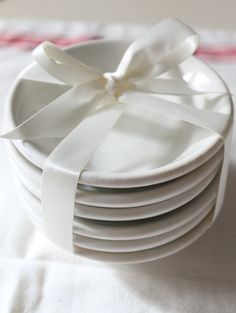 everything is sweeter when tied with a ribbon/ribbon & burlap/ lace  - Small ironstone dishes