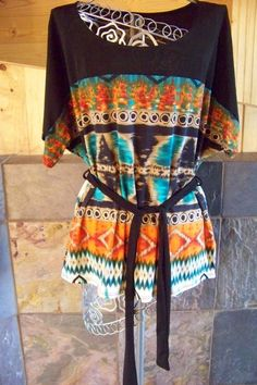 New Made USA Black trim with Aztec print and tie belt top Women size S M L #MadeinUSA #KnitTop #Casual