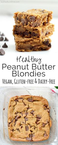 Healthy Recipes These Healthy Peanut Butter Blondies are gluten-free, dairy-free, refined-sugar free and vegan friendly! Made with chickpeas but you'd never know it! It's the perfect healthy dessert recipe that you can feel great about indulging in! Healthy Dessert Recipes, Healthy Sweets, Healthy Baking, Delicious Desserts, Yummy Food, Paleo Dessert, Dinner Recipes, Vegan Desert Recipes, Healthy Sweet Treats