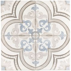 Ivy Hill Tile Valencia Multi-Color Encaustic 8 in. x 8 in. Matte Porcelain Floor and Wall Tile sq. / - The Home Depot Bathroom Floor Tiles, Wall Tiles, Tile Floor, Flooring Tiles, Patchwork Tiles, Craftsman Bathroom, Tile Patterns, Porcelain Tile, Ideas