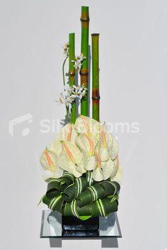 Modern Artificial Lemon Anthurium, Orchid and Bamboo Floral Table Arrangement