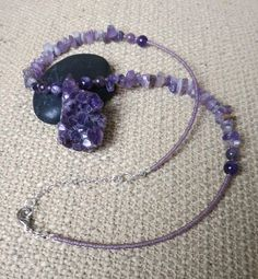 Unique raw crystal Amethyst necklace. by WildThingsAdornments, $47.00
