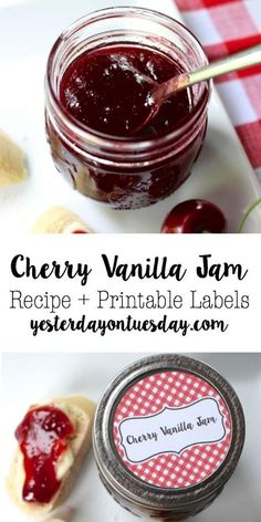 Very Good, substituted almond! DIY Cherry Vanilla Jam Recipe: Easy to make jam recipe, perfect for sandwiches, appetizers and more. Plus printable tags for a cute presentation. Perfect for gift giving. Jars and supplies from Cherry Jam Recipes, Jelly Recipes, Fruit Recipes, Canned Cherries, Jam And Jelly, Canning Recipes, Canning Tips, Printable Tags, Vanilla