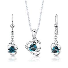 $39.99 Earrings = Genuine London Blue Topaz, 2 pieces, Trillion cut, 5mm. Earring Dimensions: 1 1/8 x 1/4 inches. Pendant = Genuine London Blue Topaz, 1 piece, Trillion cut, 6mm. Pendant Dimensions: 3/4 x 3/8 inches. Earrings and Pendant have a total weight of 3.10 grams and are set in pure Sterling Silver Rhodium Finish with .925 stamp. Gemstones have a vibrant rich color and eye clean clarity...