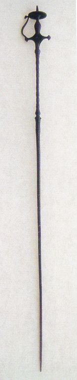 Indian tulwar hilted sword/pick as seen in Tirri's book 'Islamic Weapons', page 331, figure 251.  These swords were made for penetrating mail or plates, or to find a weak point in the armor.