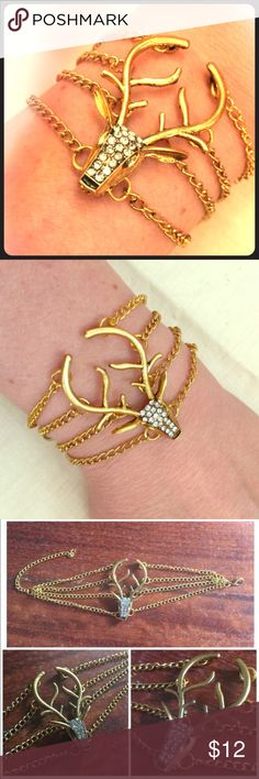 Deer Stag Antler Rhinestone Chain Golden Bracelet Super cool bracelet is on trend and brand new without tags. Goldtone metal, 4 chains with lobster clasp, Rhinestone embellished to catch the light. Jewelry Bracelets
