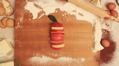 food art _ Red fruit _ Cut apple