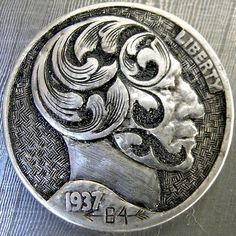 Hobo nickel with hand engraved ornate scroll head. Badass Skulls, Hobo Nickel, Hand Engraving, Coins, Handmade Jewelry, Jewelry Making, Carving, Buffalo, Cactus