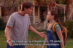 escapetospace: siriuslymeg: what i look for in a boyfriend Yes I too look for Jared Padalecki in a boyfriend. reading bookshop rory gilmore girls alexis bledel tv show quote Rory Gilmore, Gilmore Girls Books, Anniversary Quotes, Amy Sherman Palladino, Cute Girlfriend Quotes, Husband Quotes, Haha, Film Quotes, Quotes Quotes