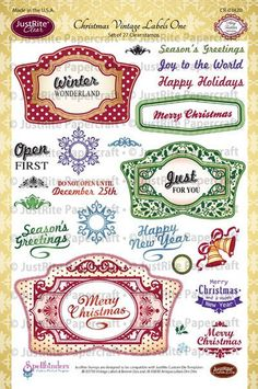 "JustRite Papercraft Christmas Vintages Labels One - 6"" x 8"" Clear Stamp Set designed by Amy Tedder.  Designed to coordinate with JustRite Papercraft Vintage Labels One Die."