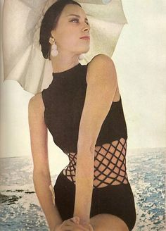 BAZAAR, 1964, fishnet bathing suit