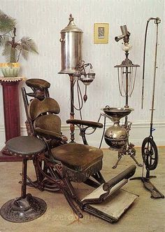 Dental Chair: History fact of the day   The true precursor to the modern dental chair was constructed by James Beall Morrison in 1867. The base of the chair was made of iron, and the chair itself boasted both a headrest and a footrest. Coupled with a foot-powered dental drill, this chair allowed dentistry begins to become less of an art and more of a science.