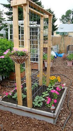 to Make a Cucumber Trellis Square foot gardening. This link has a ton of really easy garden ideas. This link has a ton of really easy garden ideas. Garden Yard Ideas, Diy Garden, Dream Garden, Lawn And Garden, Garden Beds, Garden Projects, Garden Landscaping, Backyard Ideas, Modern Backyard