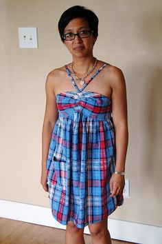 Refashion 25: Shirred Babydoll Sundress from Men's Dress Shirt - live model, slightly irritated by phthooey, via Flickr