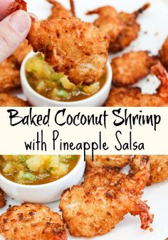Baked Coconut Shrimp with Pineapple Salsa is a lightened-up version of a tropical inspired appetizer. Fresh shrimp, coconut flakes, breadcrumbs baked crisp. Served with a simple pineapple salsa makes this a delicious appetizer for the new year.  #Shrimp #Appetizers #Coconut