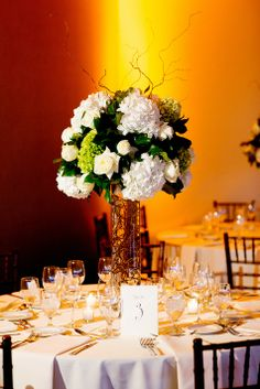 Tall green and white centerpieces | Flowers: Ivan Carlson | Olivia Leigh Photography